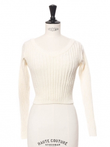 Cream white ribbed wool open back cropped sweater Retail price €175 Size XS