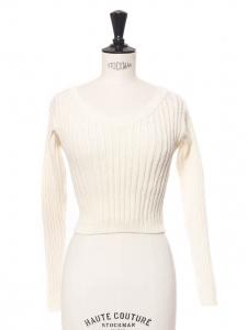 Mini pull cropped col rond et dos ouvert en lain côtelée blanc crème Prix boutique 175€ Taille XS
