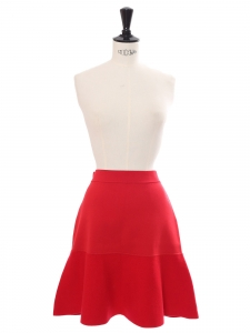 Bright red cashmere and jersey high waist flared skirt Retail price €800 Size 36