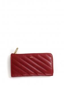 Portefeuille Lise en cuir matelassé rouge bordeaux et zip doré NEUF prix boutique 250€