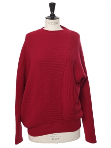 Burgundy red ribbed wool crew neck asymmetric sweater Retail price €750 Size S to M