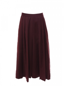 Burgundy red wool high waist wide leg cropped pants Size 36