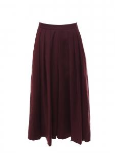 Jupe-culotte taille haute en laine rouge bordeaux Taille 36