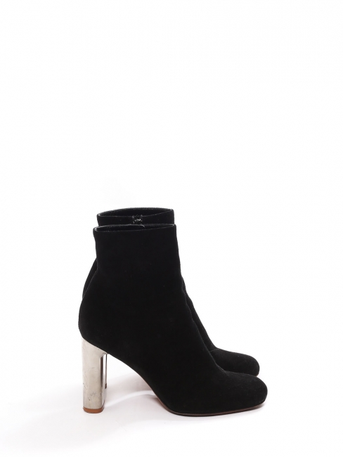 BAM BAM black suede leather ankle boots silver heel Retail price €730 Size 38