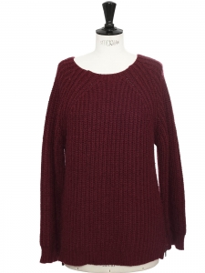 Burgundy red heavy knit alpaga and wool blend sweater Retail price €350 Size S