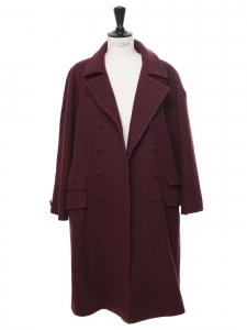 Burgundy prune wool double breasted coat Retail price €1200 Size 38