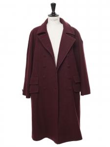 Manteau en laine bordeaux prune à double boutonnière Prix boutique 1200€ Taille 38