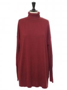 Pull col roulé en laine et cachemire mélangé rouge bordeaux Prix boutique 200€ Taille XL