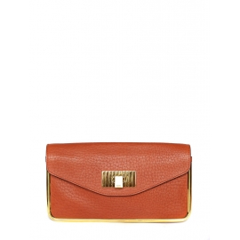 SALLY Orange red grained leather clutch bag Retail price €850