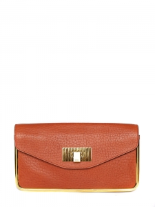 Sac clutch SALLY en cuir grainé rouge orangé Px boutique 850€