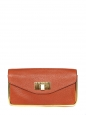 Orange red grained leather clutch bag Retail price 850€