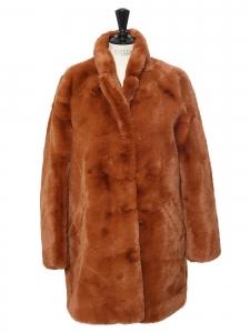Manteau en fausse fourrure extrêmement douce marron roux écureuil Taille 38