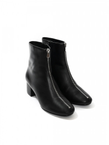 Low heel black leather silver zip ankle boots Size 38