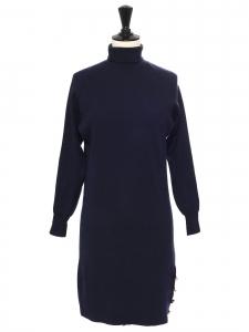 Robe col roulé manches longues en maille de laine bleu marine Prix boutique $475 Taille XS