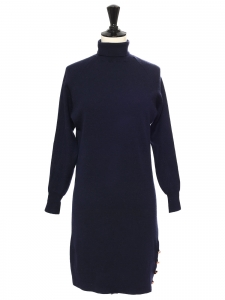 Turtleneck long sleeves navy blue and black knitted dress Retail price $475 Size XS