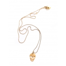 GAG & LOU thin gold chain necklace and skull pendant