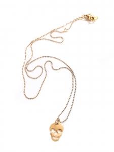 GAG & LOU Collier sautoir fine chaîne dorée pendentif tête de mort