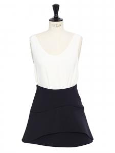Black neoprene high waist flared skirt Size 36