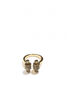Gold ring with grey stones and crystals