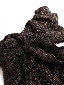 Round neckline multicolor glitter knitted black sweater Size M