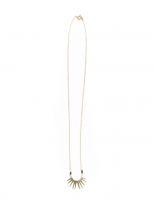 CROWN Collier sautoir chaîne fine dorée et pendentif couronne plaqué or Prix boutique 140€