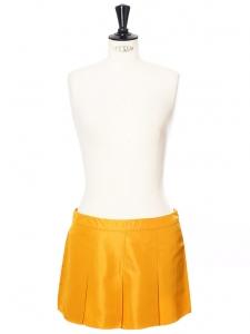 Mini jupe plissée en taffetas jaune safran Px boutique 400€ Taille 38