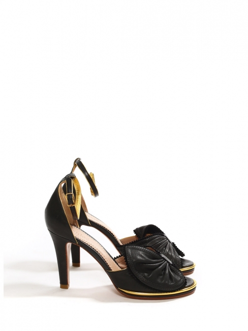 TERRY black and gold leather bow heel sandals NEW Retail price €495 Size 36