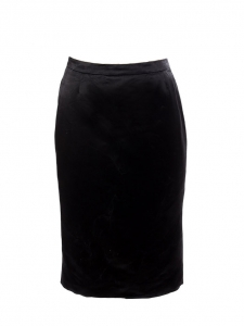 High waist black silk satin pencil skirt Retail price €400 Size 36