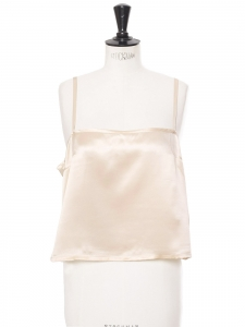 Thin strap silk satin cream white tank top Retail price €500 Size 42