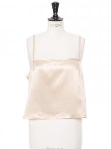 Top à fines bretelles en satin de soie blanc crème Prix boutique 500€ Taille 42