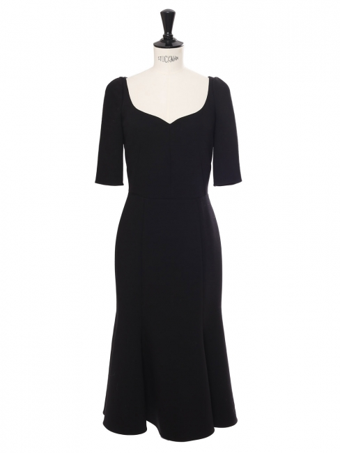 Black wool crêpe sweetheart neckline cinched midi dress Retail price €2000 Size XXS/XS