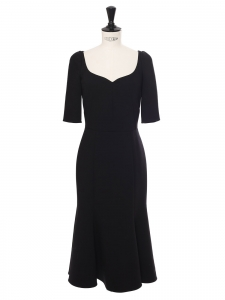 Black wool crêpe sweetheart neckline cinched midi dress Retail price €2000 Size XS/S