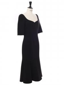 Black wool crêpe sweetheart neckline cinched midi dress Retail price €2000 Size XS/S