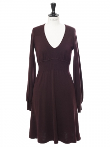 Long sleeves v neck burgundy prune wool knit dress Retail price €990 Size S