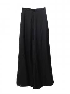 Pantalon taille haute évasé en satin fluide noire Prix boutique 540€ Taille 36