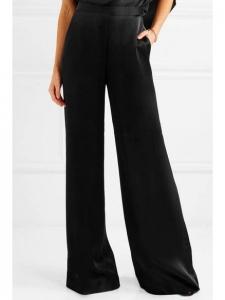 High waist wide-leg black satin pants Retail price €540 Size 36