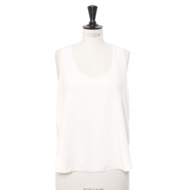 Iconic ivory white silk crepe tank top with ruffle Retail price €420 Size 40