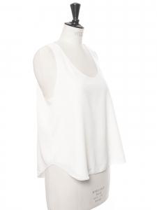ICONIC Ivory white silk crepe tank top Retail price €390 Size 36