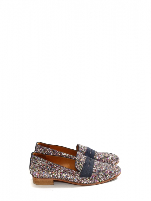 EPONYME Flat navy suede and multi color glitter loafers Retail price €180 Size 38