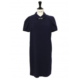 Robe RUTHY manches courtes en jersey bleu marine noeud crystal argent Taille 36