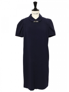 Robe RUTHY manches courtes en jersey bleu marine noeud crystal argent