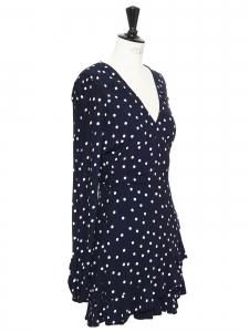Navy blue and white polka dot print long sleeves wrap ruffle dress Size 38