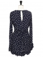 Navy blue and white polka dot print long sleeves wrap ruffle dress Size 38