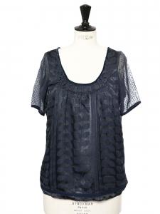 Top blouse manches courtes en soie bleu marine brodée doré Taille S