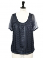 Short sleeves gold embroidered navy blue silk and velvet top Size S
