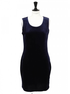 Midnight blue velvet sleeveless short dress Size 38