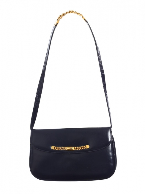 Navy blue leather shoulder bag with gold chain strap