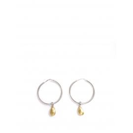 Silver pierced hoop earrings with gold pearl