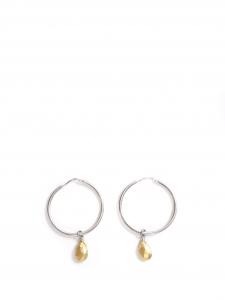 Boucles d'oreilles percées anneaux argent et perle gouttes dorées