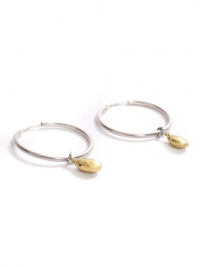Silver pierced hoop earrings with gold pearl